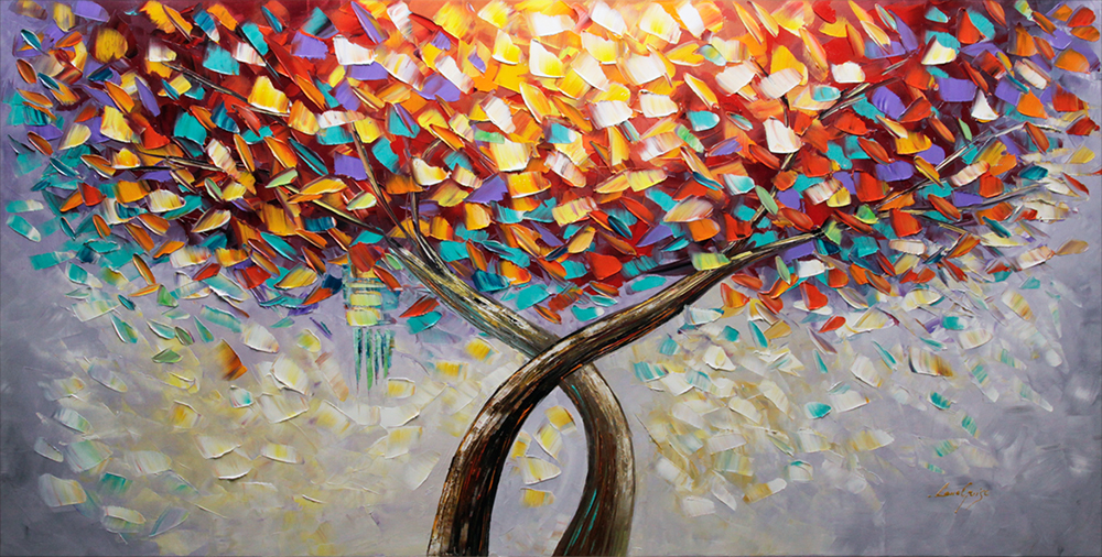 Talking to the Sun - tree-art Palette Knife Original Oil Paintings On Canvas By Lana Guise