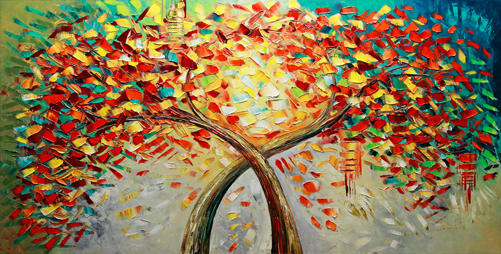 Together as One II - tree-art Palette Knife Original Oil Paintings On Canvas By Lana Guise